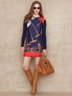 Equestrian-Print Sweater Dress - Blue Label Short Dresses - RalphLauren.com