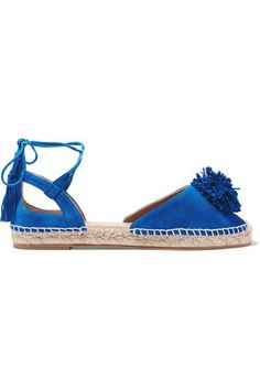 Aquazzura - Sunshine Pompom-embellished Espadrilles - Bright blue - IT