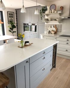 "House Beautiful UK on Instagram: ""#LoveYourSpace: What a beautiful kitchen! (📸 @at_lucys_house) . . . . #regram #repost #greykitchen #kitcheninspo #greycabinets…"""