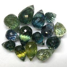 6.15ct.NATURAL BLUE GREEN SAPPHRIE BRIOLETTE GEMS