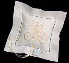 Personalized ring bearer pillow with custom monogram Irish linen jfyBride Style 6151