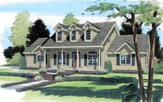 Dormer windows add charm to this 3 bedroom Cape Cod style home.  Cape Cod House Plan # 391383.