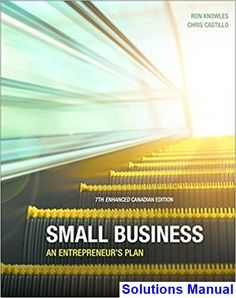 Solutions Manual for Small Business An Entrepreneurs Plan Enhanced Canadian 7th Edition by Knowles IBSN 9780176703479