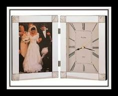 Nice Bulova wedding photo frame with clock. #weddings #giftideas