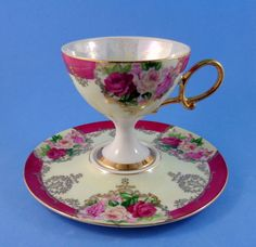 High Pedestal Roses Bouquet with Deep Pink Border Shafford Tea Cup and Saucer