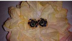 Vintage Gold Multi Color Jewel Clip on Earrings, Gold Dome Shaped Earrings, Gold Tone, Jeweled Earrings,Red,Green,Blue, Vintage Clip ons by JunkYardBlonde on Etsy