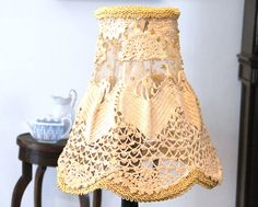 Retro lamp Burlap  Crochet  lampshade  lace vintage by MINTOOK, $39.00
