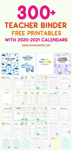 These awesome teacher binder printables are great resources to get organized this new school yea. Snag the 300 brilliant organizers in PDF! Find lesson plan templates, teacher quotes, classroom organizers and more. Student Teacher Binder, Teacher Binder Organization, Teacher Binder Covers, Organized Teacher, Kindergarten Teacher Binder, Lesson Plan Organization, Binder Storage, Free Lesson Planner, Teacher Planner Free