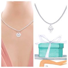 """RETURN TO TIFFANY BEAD NECKLACE  Authentic Tiffany motif. Small heart tag in sterling silver on a bead necklace. 16"""" long this is how you will receive the package ask all questions before buying thanks Tiffany & Co. Jewelry Necklaces"""