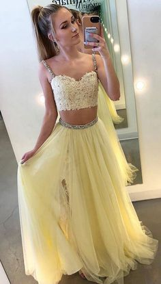 Sexy Two Pieces Yellow Tulle Straps A Line Long Prom Dress With Lace Prom Dress Long, Sexy Prom Dress, Prom Dresses, Prom Dress A-Line, Two Pieces Prom Dress Prom Dresses 2020 Two Piece Evening Dresses, A Line Evening Dress, Two Piece Dress, Prom Dresses For Teens, Prom Dresses Online, Cheap Prom Dresses, Dress Prom, Dress Formal, Dress Wedding