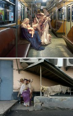 """For his ongoing series """"Art History in Contemporary Life,"""" Ukrainian artist Alexey Kondakov takes scenes and figures lifted from classical paintings and drops them into modern-day life."""