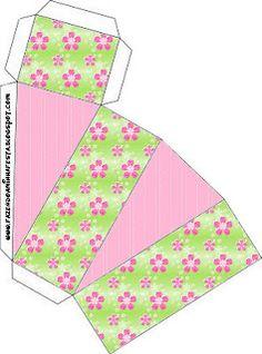 Flores com Fundo Rosa e Verde – Kit Completo com molduras para convites, rótulos para guloseimas, lembrancinhas e imagens! |Fazendo a Nossa Festa