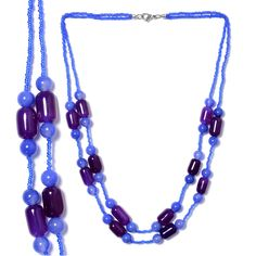 Purple Agate, Enhanced Blue Agate, Glass Necklace (20 in) in Silvertone with Stainless Steel Lobster Lock TGW 188.83 cts.