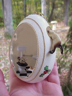 Real GOOSE Egg Hand Decorated Christmas Ornament Gift Cat Mouse Hagen Renaker | eBay