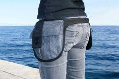 Pocket belt  Black gray hip pack  Industrial style belt by Nomadum, $110.00