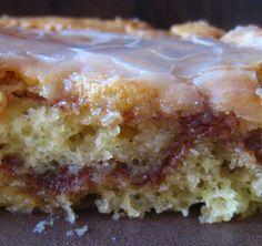My Homemade Life: That 70s Breakfast...........HONEY BUN COFFEE CAKE 1 box yellow cake mix 8 ounce tub sour cream 4 eggs 3/4 c. vegetable oil 1 c brown sugar 1 Tbsp ground cinnamon 2 c. powdered sugar 4 Tbsp. milk 1 Tbsp. vanilla