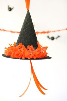 DIY Witch Hat Pinata. No bats, just pull the ribbons to open<3