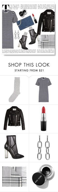 """""""Stripes and All"""" by doragal ❤ liked on Polyvore featuring Pepper & Mayne, T By Alexander Wang, Acne Studios, MAC Cosmetics, Steve Madden, Alexander Wang, Burberry and Miu Miu"""