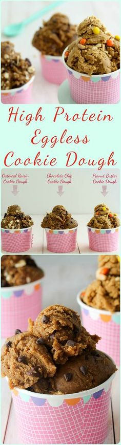 No need to worry about salmonella with these healthy high protein eggless edible cookie dough recipes! They're so quick and easy to make full of nutritious ingredients and are high in protein! 3 recipes for Chocolate Chip Cookie Dough Peanut Butter Cookie Edible Cookies, Edible Cookie Dough, Cookie Dough Recipes, No Bake Cookie Dough, Protein Cookie Dough, Protein Cookies, Chocolate Chip Cookie Dough, Protein Muffins, Healthy Cookies