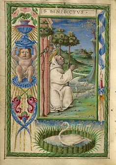 Gualenghi-d'Este Hours   Saint Benedict in Prayer        Taddeo Crivelli  Italian, Ferrara, about 1469  Tempera colors, gold paint, gold leaf, and ink on parchment    4 1/4 x 3 1/8 in.  MS. LUDWIG IX 13, FOL. 180V