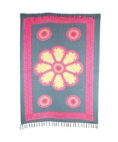 LOUDelephant Flower Mandala with Border Print Viscose Rayon Sarong - Green & Pink