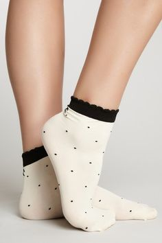 French Curve Dotted Bow Anklet Socks