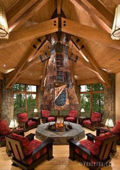 Why You Should Consider Buying a Log Cabin - Rustic Design Log Cabin Kits, Log Cabin Homes, Log Cabins, Indoor Fire Pit, How To Build A Log Cabin, Ikea, Mountain Homes, Cabins In The Woods, Rustic Design