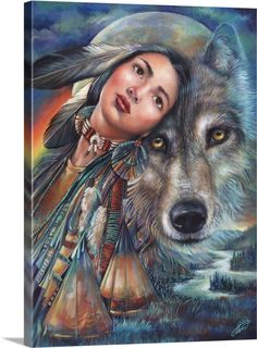 Native American art, American Indian art by noted painter Gloria West. Native American Wolf, Native American Paintings, Native American Pictures, Native American Beauty, American Indian Art, Native American History, American Indian Tattoos, Indian Wolf, Native Indian