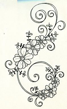 Tattoo design 6 by on DeviantArt - embroidery Floral Embroidery Patterns, Hand Embroidery Designs, Ribbon Embroidery, Flower Patterns, Embroidery Stitches, Pattern Flower, Quilling Patterns, Motif Floral, Satin Stitch