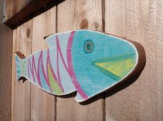 Painted Wooden Folk Art Striped Fish Made from by OceanThings, $24.00