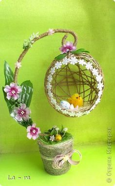 - Preparing for Easter in the continuation of my work … – # of mine # Easter # continue - Basket Crafts, Egg Crafts, Burlap Crafts, Diy Home Crafts, Diy Arts And Crafts, Easter Flower Arrangements, Easter Flowers, Newspaper Crafts, Easter Projects