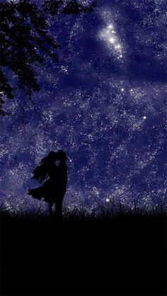Silhouette of couple & stars art Romantic Short Stories, Dystopian Art, Sunday Kind Of Love, Iphone 5 Wallpaper, Iphone Backgrounds, Novel Characters, Couple Silhouette, Manga Couple, Story Inspiration
