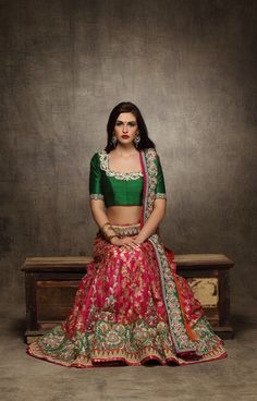 royal green blouse, deep neck blouse, zari work, raw silk blouse, red and green lehenga, zari work, all over embroidery, green and gold border