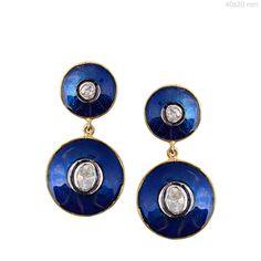 Blue Enamel Sterling Silver RoseCut Diamond Dangle Earrings 14k Gold Jewelry NEW #Handmade
