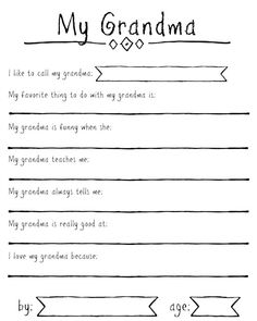 FREE printable questionnaire for kids to fill out about Grandma for Mothers Day . - FREE printable questionnaire for kids to fill out about Grandma for Mothers Day (includes spots for - Grandma Crafts, Grandparents Day Crafts, Mothers Day Gifts From Daughter, Mothers Day Crafts For Kids, Diy Mothers Day Gifts, Fathers Day Crafts, Mothers Day Cards, Gifts For Grandma, Happy Mothers Day Poem