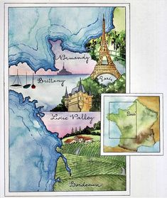 Watercolour map Journal of France - Vivian Swift Watercolor Sketchbook, Watercolor Map, Watercolor Paintings, Watercolors, Artist Sketchbook, Sketchbook Ideas, Road Trip Map, Sketch Journal, Journal Notebook