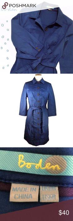 EUC Boden crisp cotton belted shirt dress Vole blue. Simple yet classy! Boden Dresses
