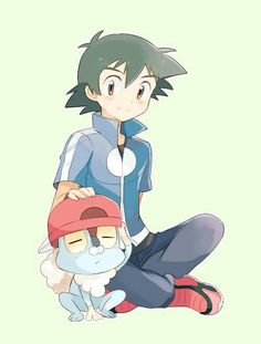Ash Ketchum and his Froakie ^.^ ♡ I give good credit to whoever made this