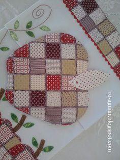 pano-de-prato e descanso-de-panela em patchwork - maçã