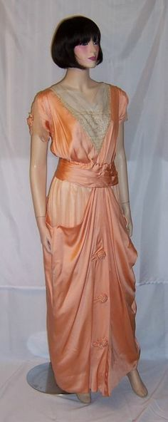Edwardian (1890-1910) Apricot Charmeuse & Silk Chiffon Gown | From a collection of rare vintage evening dresses at http://www.1stdibs.com/fashion/clothing/evening-dresses/