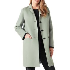 Buy Jigsaw Double Faced Oval Coat, Water Mint Online at johnlewis.com