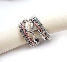 Wedding band set , wire wrapped rings , wirework rustic jewelry , silver copper band. $250.00, via Etsy.