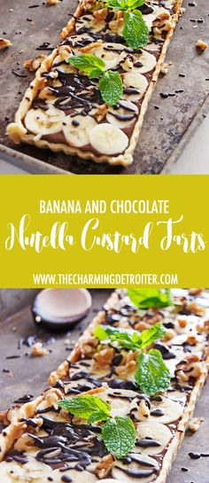 These tasty chocolate and nutella custard tarts are paired with fresh bananas, melted chocolate, and crunchy walnuts and make for a tasty dessert treat.