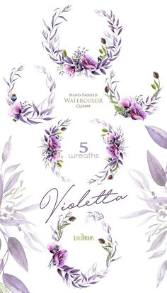 The Watercolor violet set of 5 high quality hand painted watercolor floral wreaths. Perfect graphic for wedding invitations, greeting cards, photos, posters, quotes and more. Item details: 5 PNG files (300 dpi, RGB, transparent background) 5 wreaths size (larger side) aprox.: 23 in,