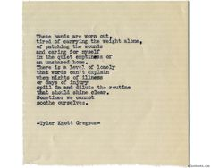 Typewriter Series #1125 by Tyler Knott Gregson*Chasers of the Light, is available through Amazon, Barnes and Noble, IndieBound , Books-A-Million , Paper Source or Anthropologie *