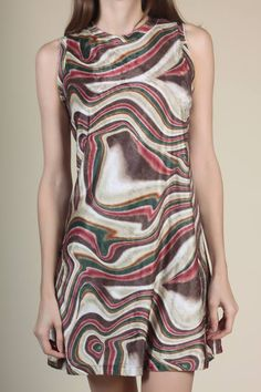 862a6fe3fd 90s Velvet Abstract Striped Dress - Large