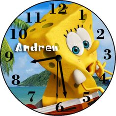 Spongebob Sponge out of Water Inspired Personalized Wall Clock - Choose Design Personalized Clocks, Spongebob, Pikachu, Clock Wall, Inspired, Handmade Gifts, Movies, Inspiration, Etsy