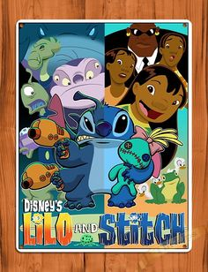 "Tin Sign ""Lilo And Stitch"" Disney Vintage Art Ride Painting Movie Poster Walt Disney, Disney Love, Disney Art, Mickey Mouse, Minnie, Disney And Dreamworks, Disney Pixar, Chibi Disney, Lilo E Nani"