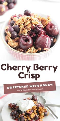 This Cherry Berry Crisp is a perfect way to use seasonal fruit to make a simple dessert! Take berries, honey and oatmeal and you get perfection!   The Bitter Side of Sweet Delicious Breakfast Recipes, Breakfast Snacks, Best Dessert Recipes, Easy Dinner Recipes, Sweet Recipes, Delicious Desserts, Yummy Food, Breakfast Ideas, Yummy Recipes