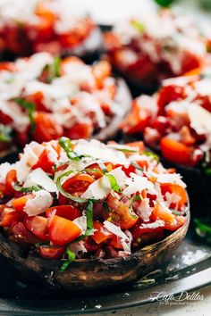 Grilled Bruschetta Portobello Mushrooms smothered in garlic butter are your new favourite way to eat a mushroom! Breakfast, Lunch OR dinner!   https://cafedelites.com